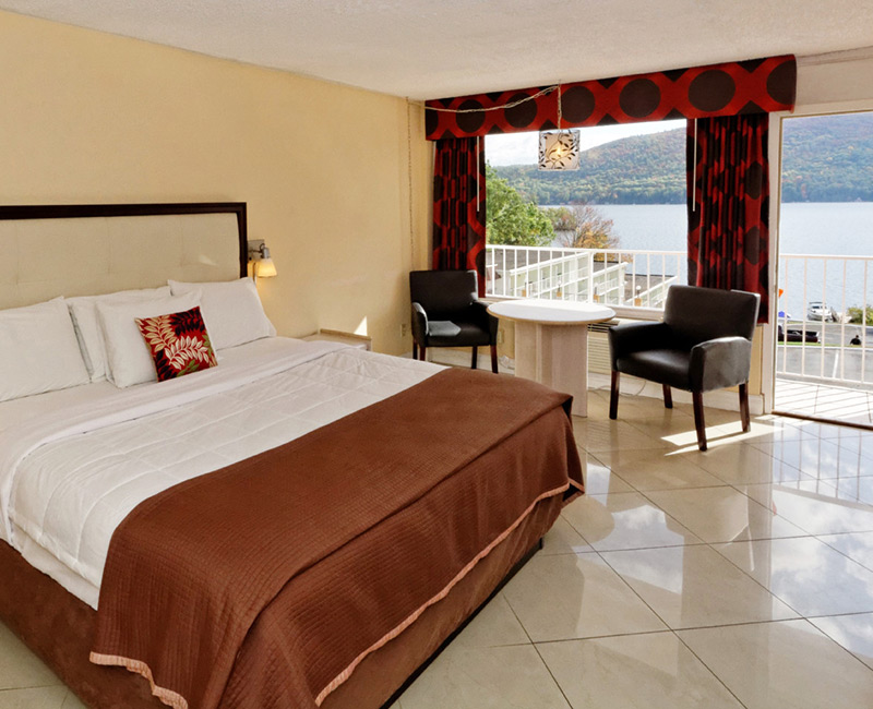 Motel room with tile floor and views of Lake George