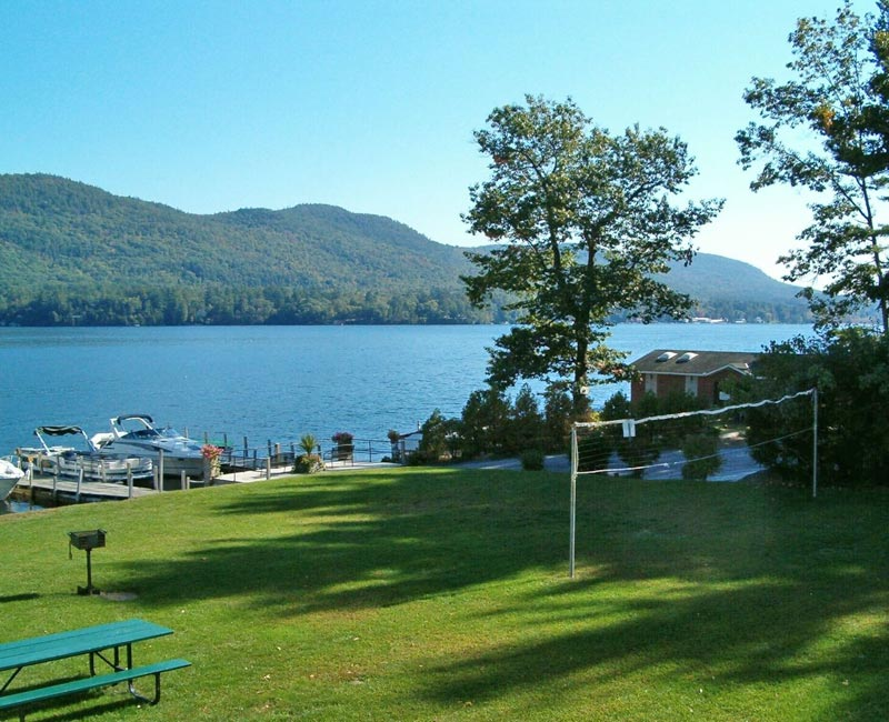 Grass area on the shore of lake george